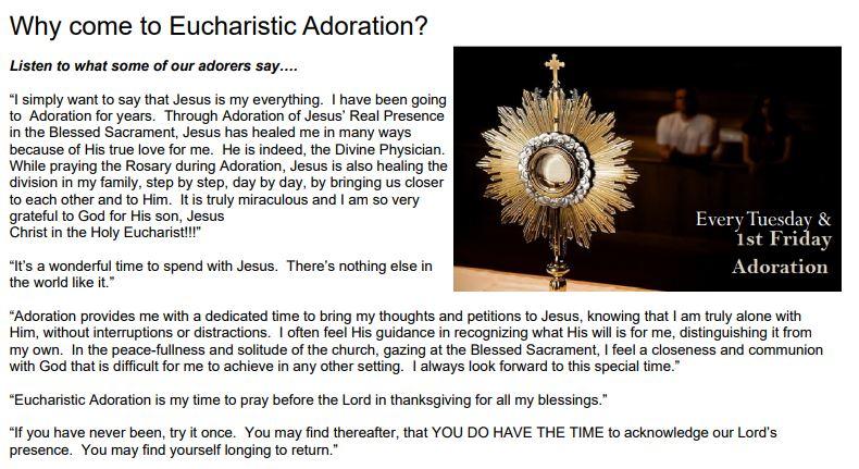 , Adoration, St. Joseph-on-Carrollton Manor Catholic Church