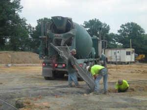 Pouring concrete for footers