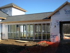 Windows are installed in the walkway!