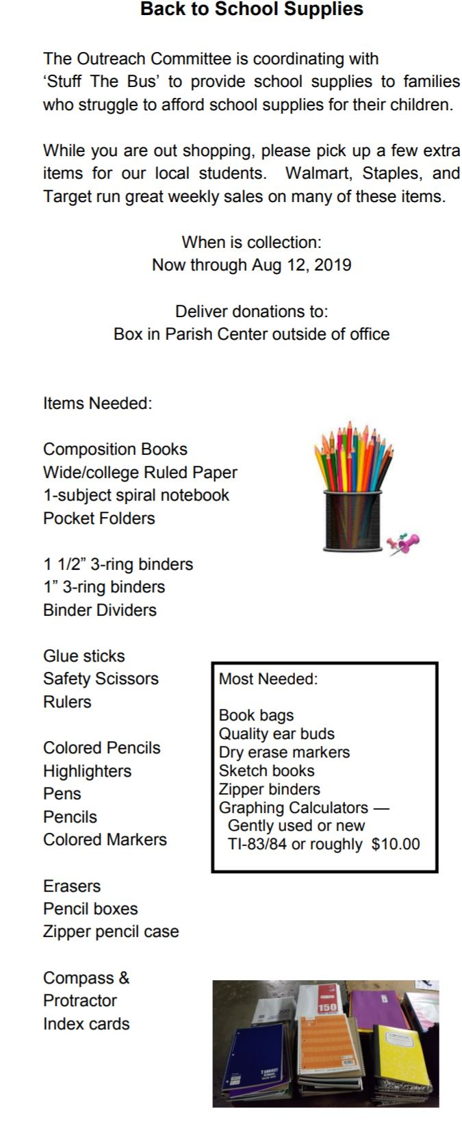 , Back to School Supplies for Those in Need, St. Joseph-on-Carrollton Manor Catholic Church, St. Joseph-on-Carrollton Manor Catholic Church