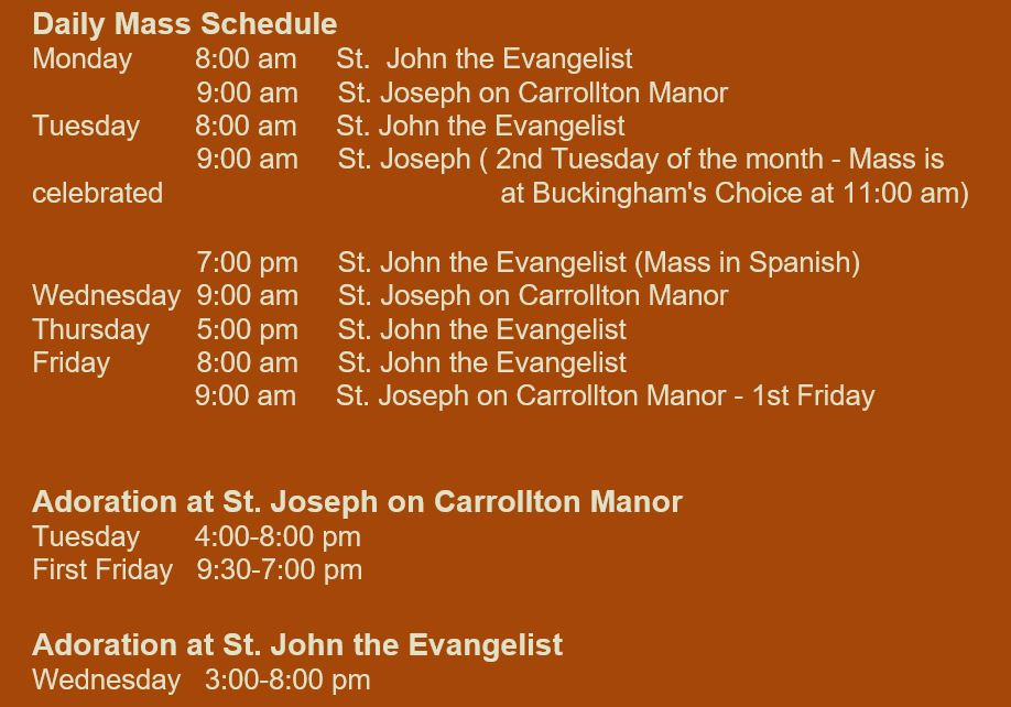 Regular Daily Mass Schedule | St  Joseph-on-Carrollton Manor
