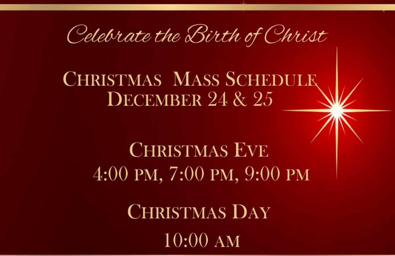 , Christmas Mass Schedule, St. Joseph-on-Carrollton Manor Catholic Church, St. Joseph-on-Carrollton Manor Catholic Church